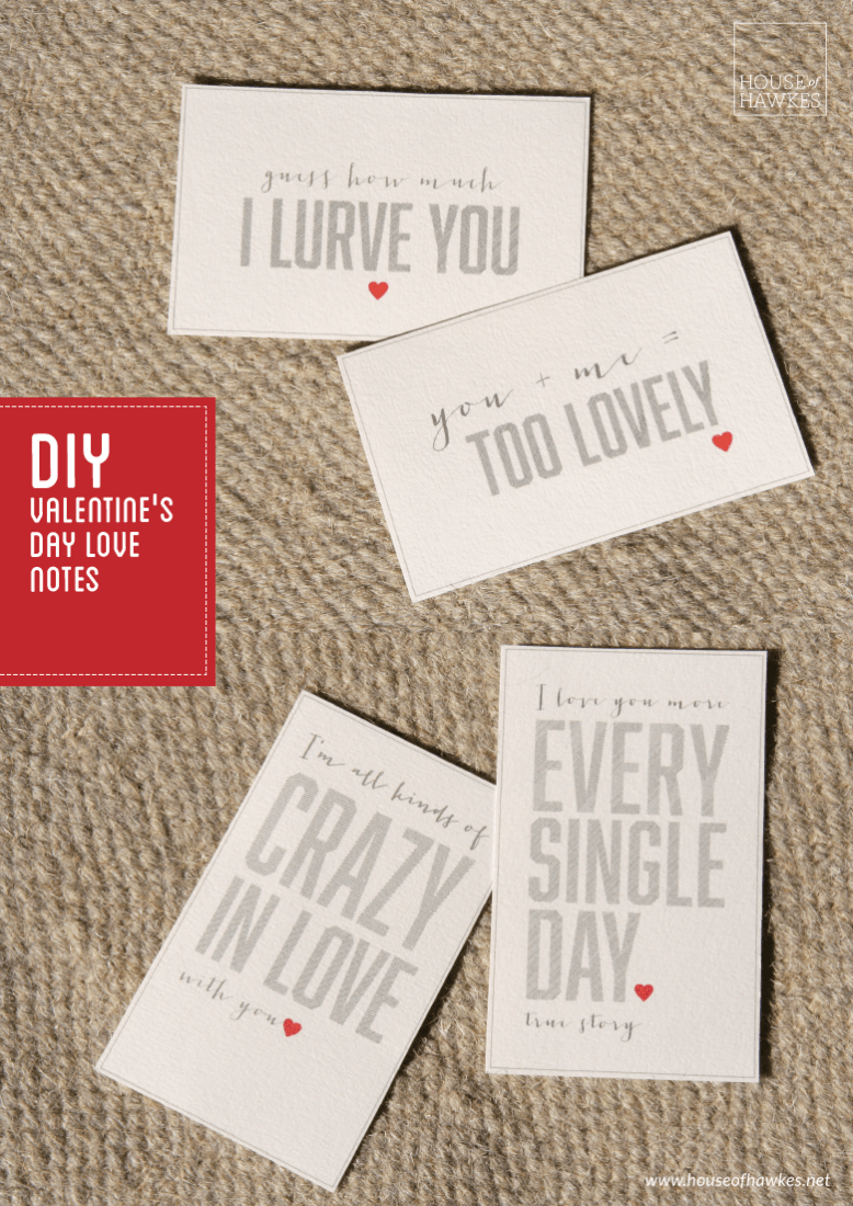 DIY valentine's day love notes
