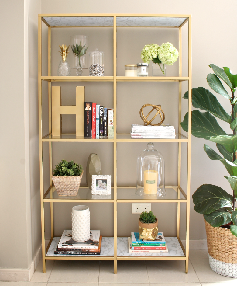 Diy gold bookshelf house of hawkes for Home decorators bookcase